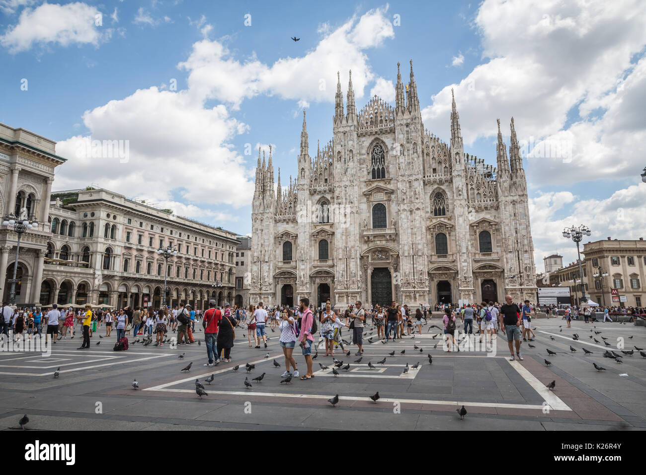 Crowd of tourists in Piazza Duomo, Milan,  Italy - Stock Image