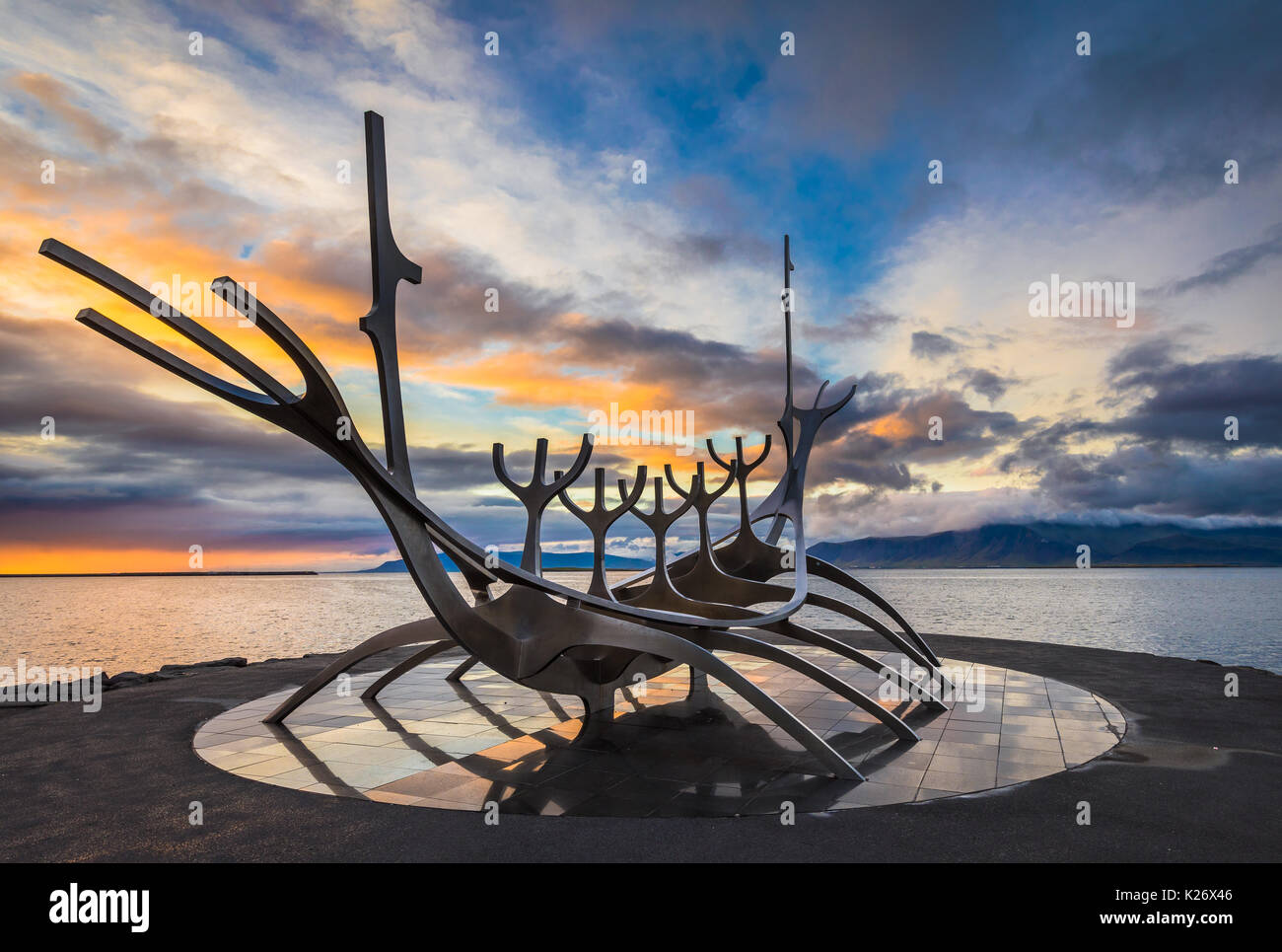 Sun Voyager is a sculpture by Jón Gunnar Árnason, located in Reykjavík, Iceland. Sun Voyager is a - Stock Image