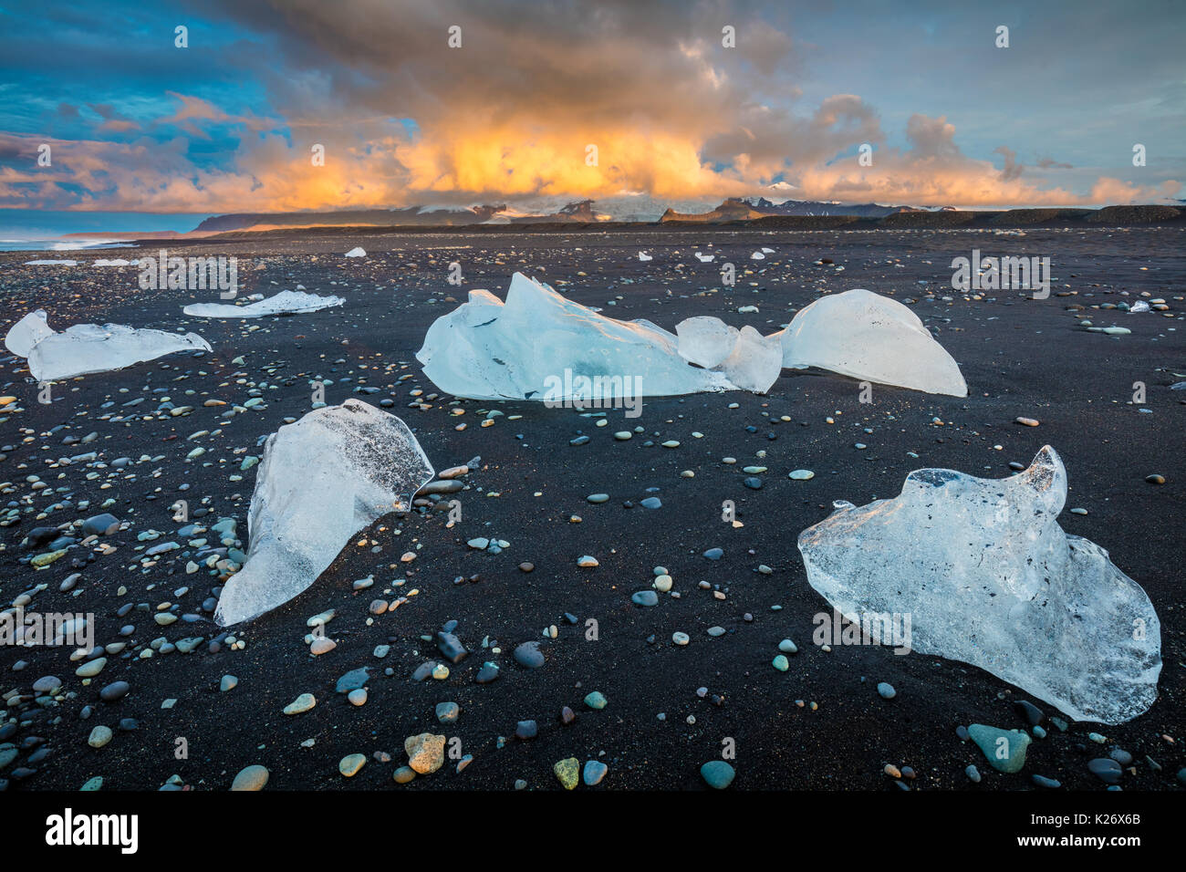 Jökulsárlón is a large glacial lake in southeast Iceland, on the edge of Vatnajökull National - Stock Image