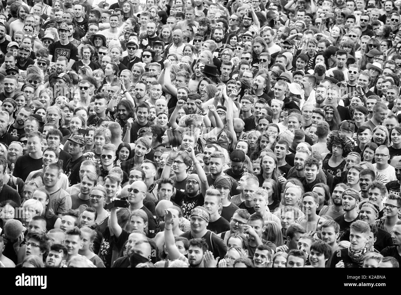 Kostrzyn, Poland - August 05, 2017: Applauding crowd at a concert during the 23rd Woodstock Festival Poland. - Stock Image