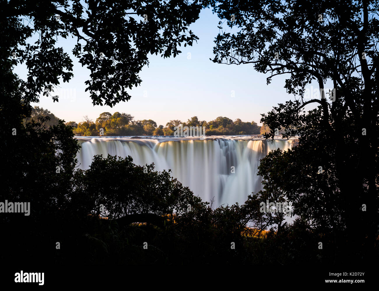 Victoria Falls seen through a silhouette of trees. Zimbabwe. June - Stock Image