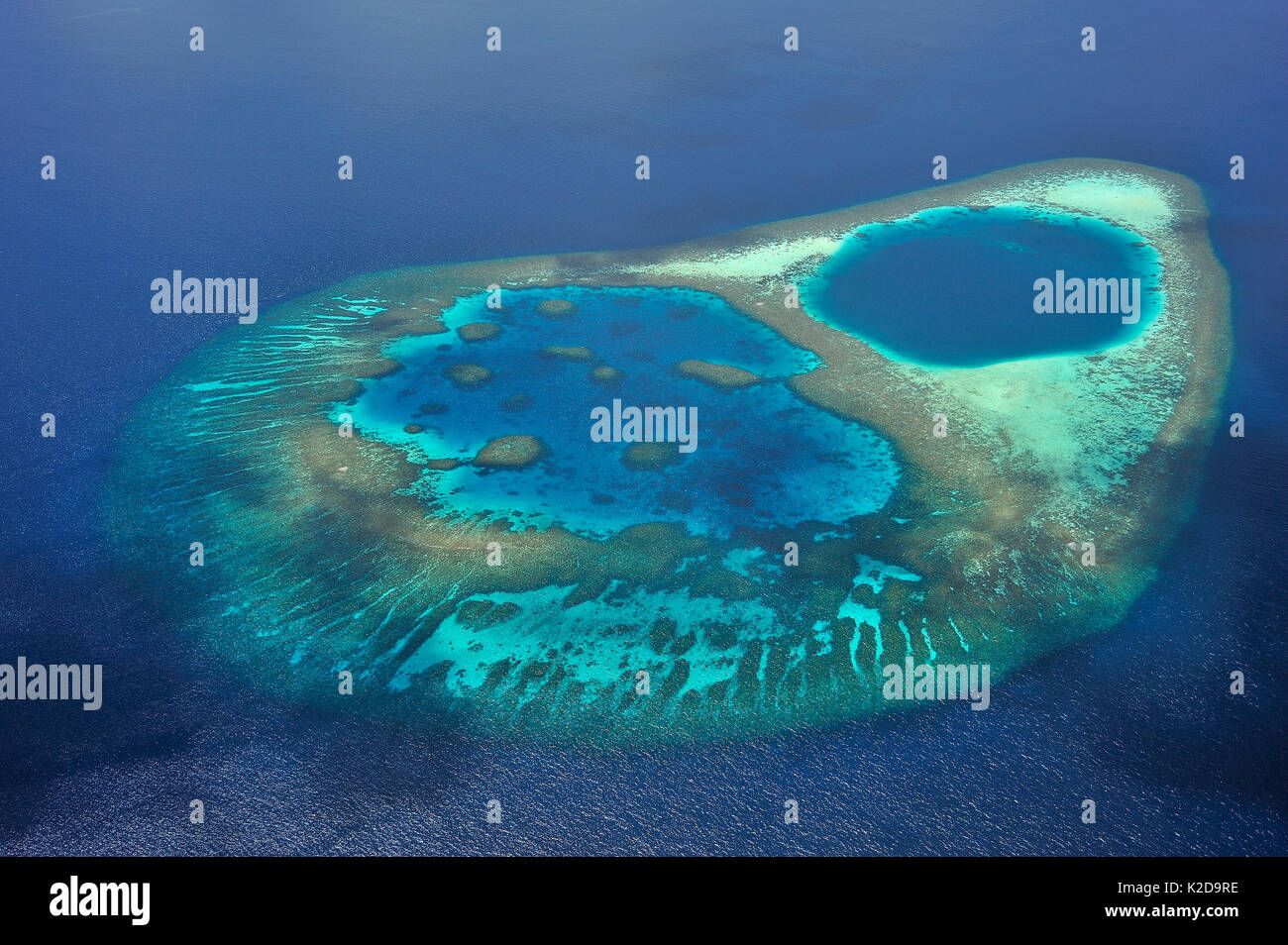 Aerial view of the coral reef which builds a lagoon in the atoll, Maldives, Indian Ocean - Stock Image