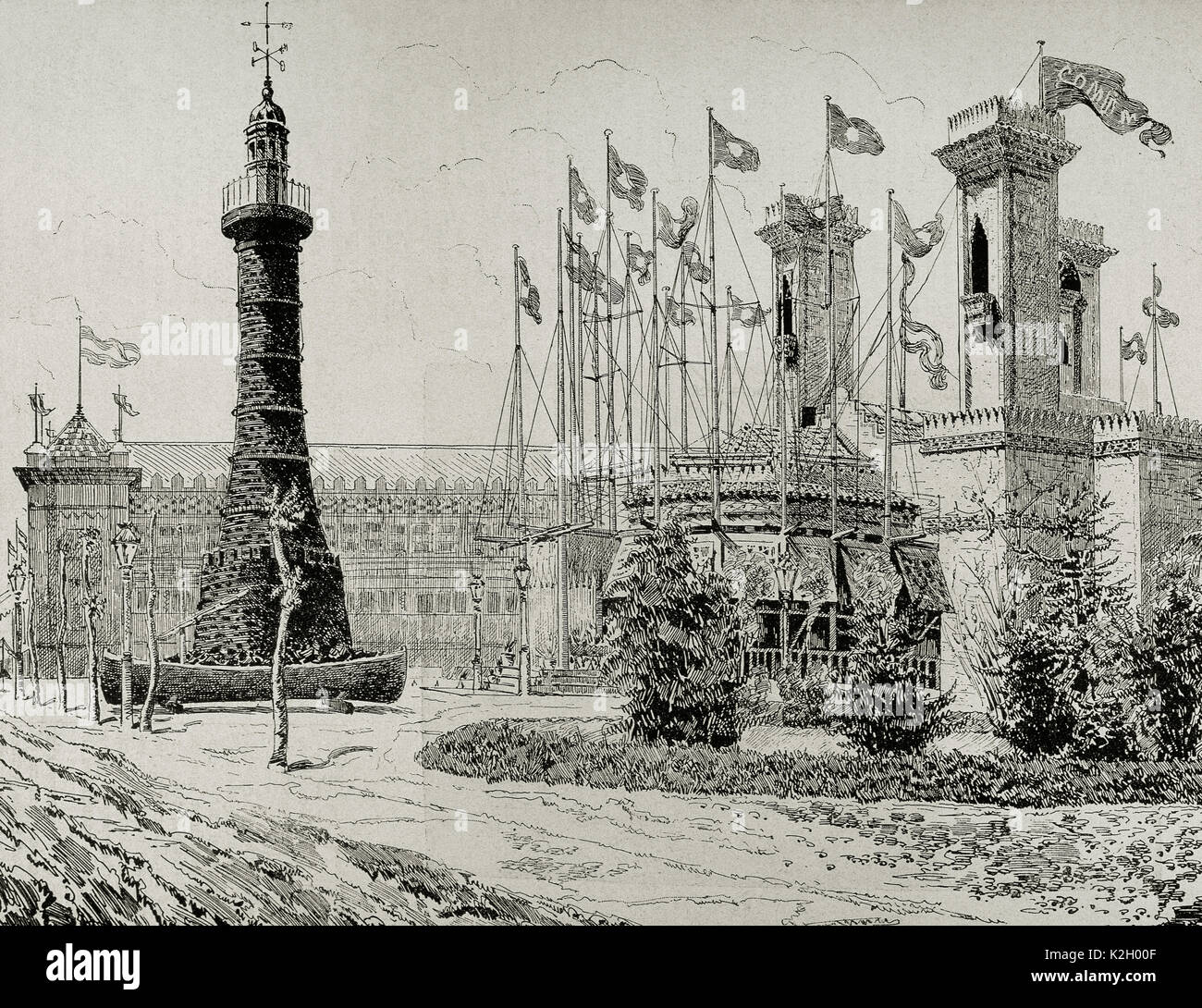 Spain. Catalonia. 1888 Barcelona Universal Exposition. Gallery of maritime installations: stone charcoal lighthouse - Stock Image