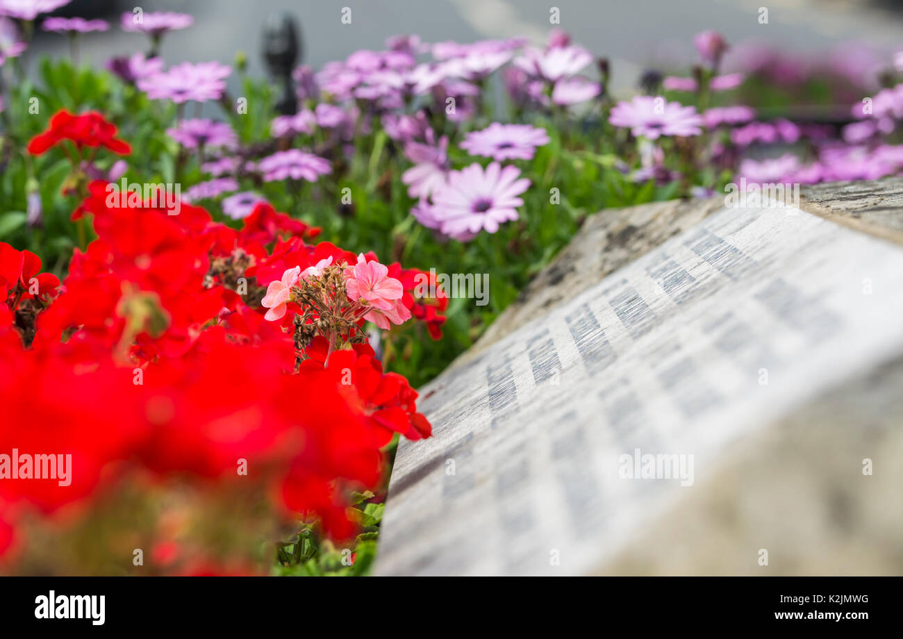 war-memorial-with-summer-flowers-next-to