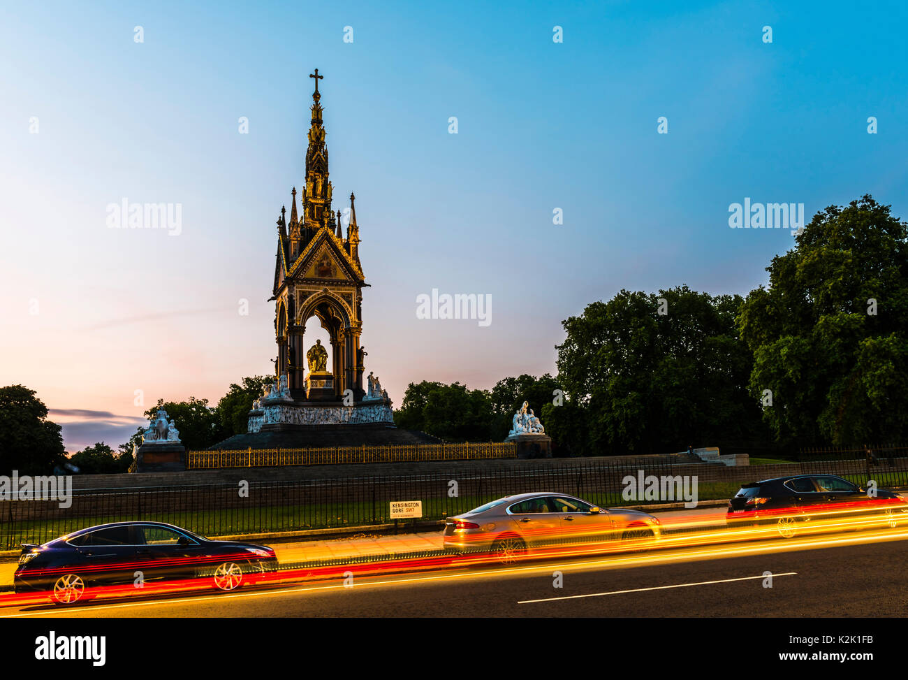 Albert Memorial and lights at dusk, London, UK - Stock Image