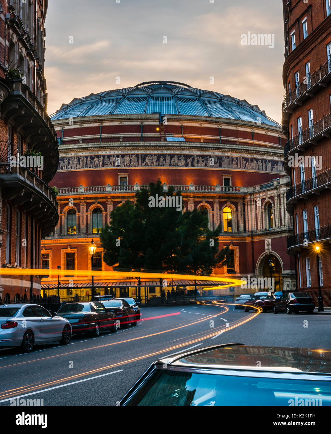 Royal Albert Hall at sunset, London, UK - Stock Image