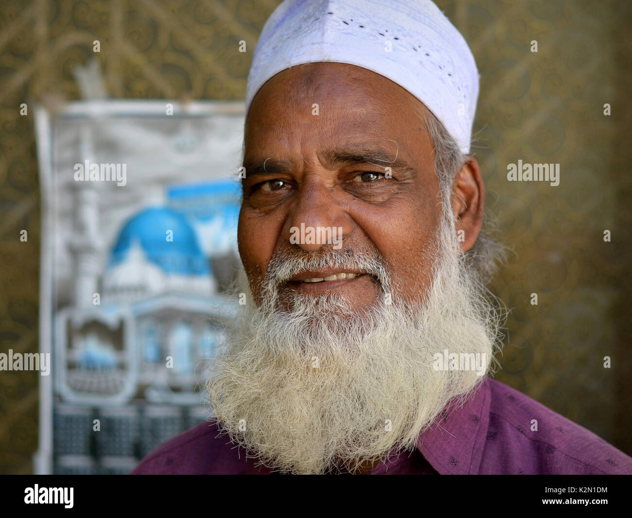 Imam of the small Muslim community at Rayagada/Odisha, India, with Muslim beard and prayer bump on his forehead, - Stock Image