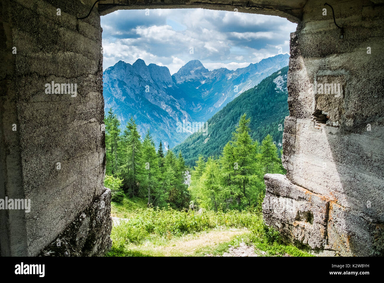 Bunker from first world war on the top of a highest mountain pass Vrsic in Slovenia - Stock Image