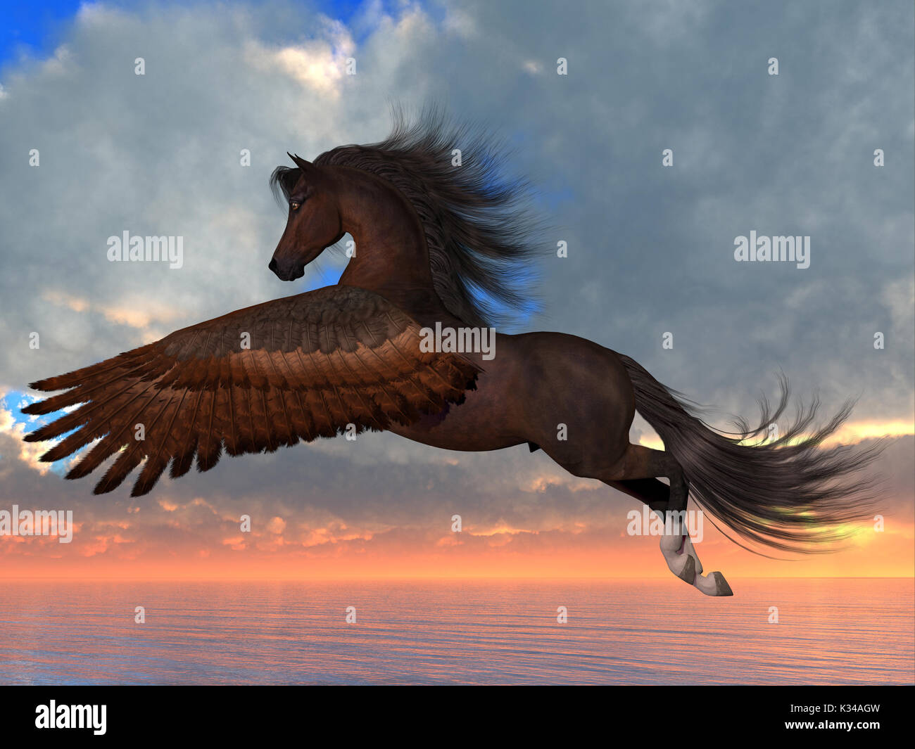 An Arabian Pegasus horse flies over the ocean with powerful wing beats on his way to his destination. - Stock Image