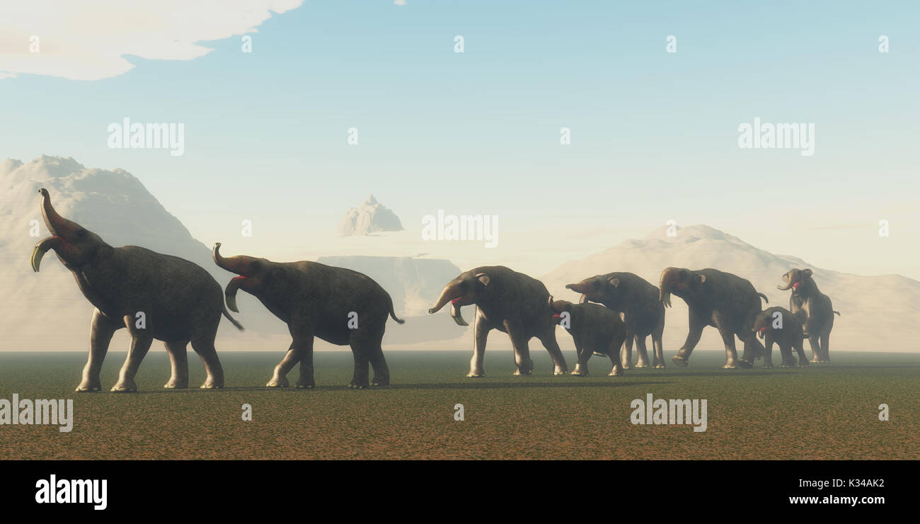 A herd of Deinotherium mammals head to a watering hole in the Pleistocene Period of Africa. - Stock Image