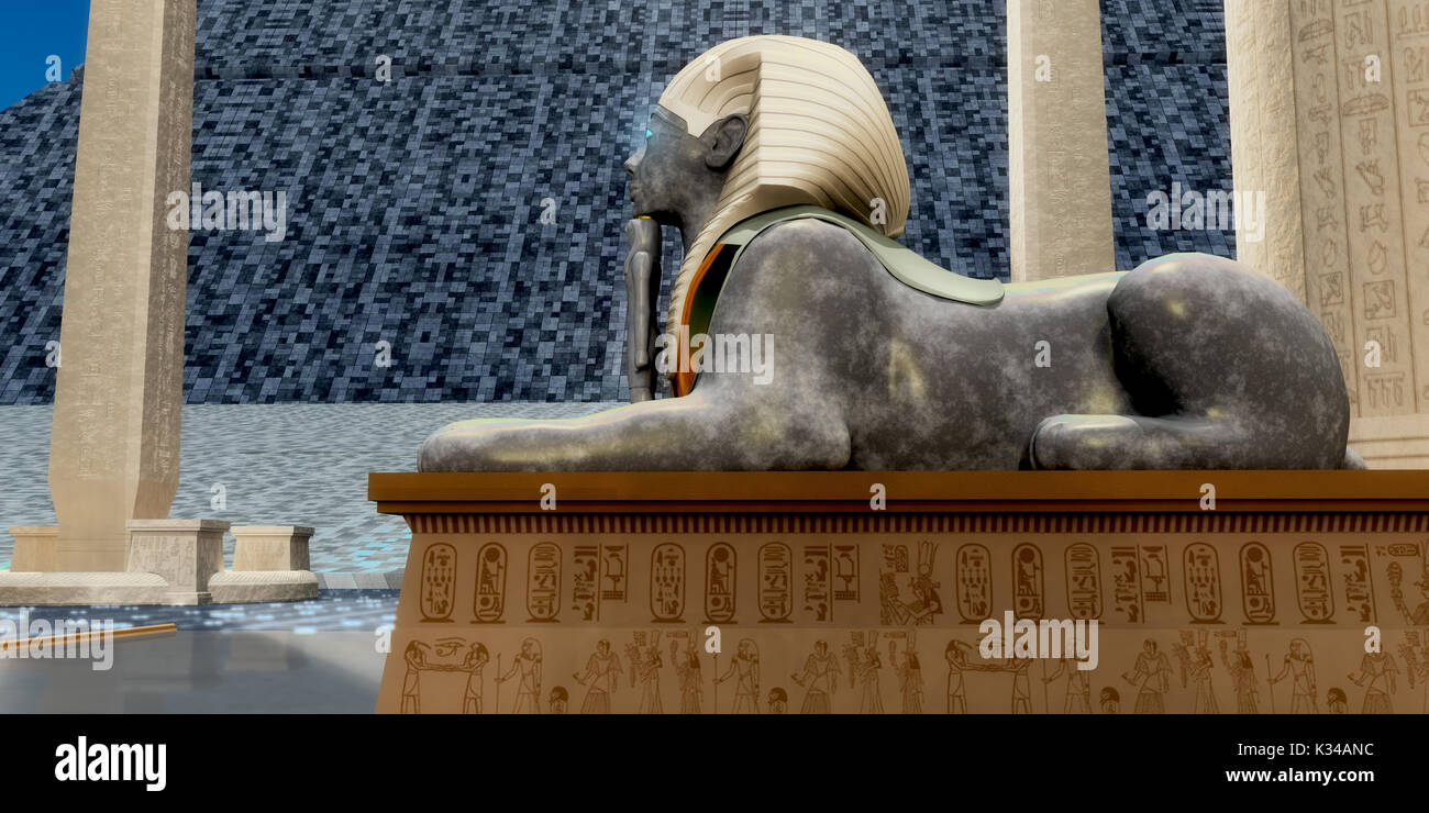 An Egyptian sphinx statue is one of the guardians to pharaoh's tomb in ancient Egypt. - Stock Image
