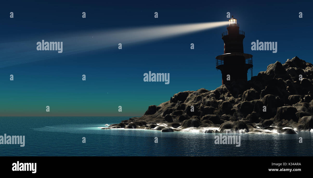 A red and white lighthouse guides sailors and boatmen away from the rocky shoreline. - Stock Image
