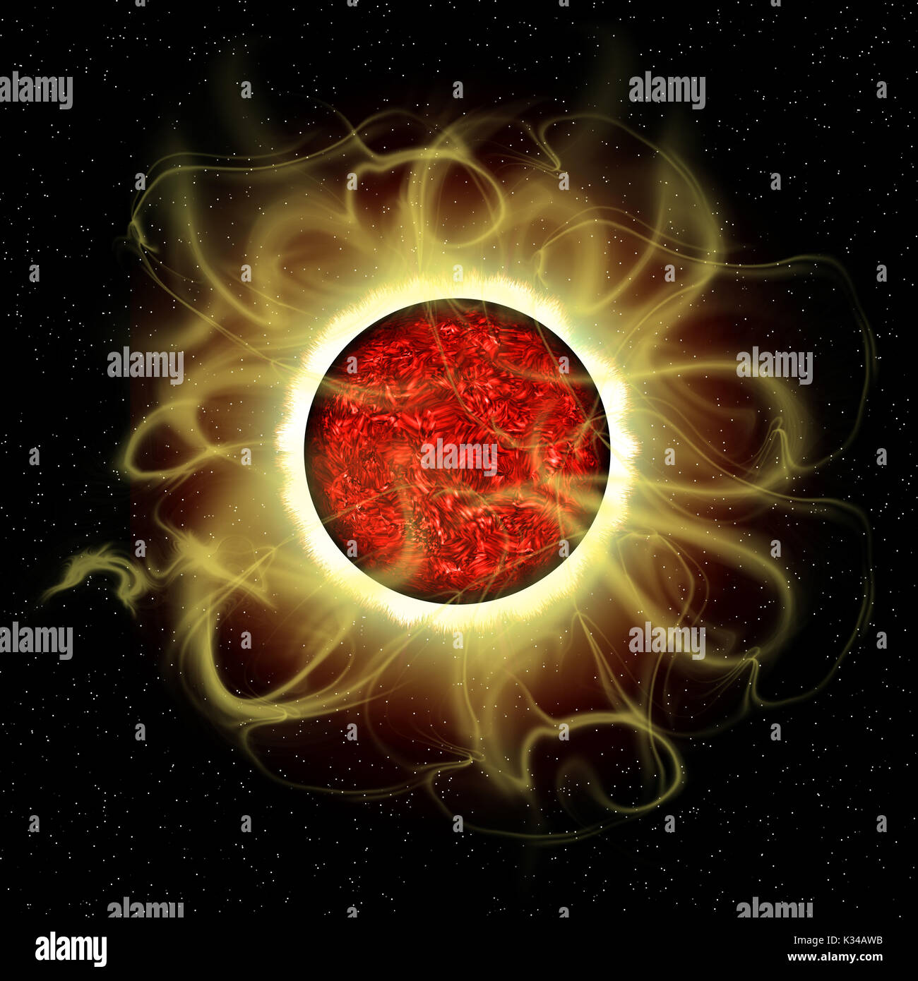 The sun is a molten composite of metals and gases and every 11 years there is a cycle of solar flare activity caused - Stock Image