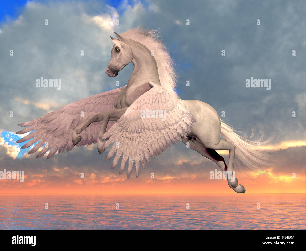An Arabian Pegasus horse rises on powerful wings to fly over the ocean on a sunny day. - Stock Image