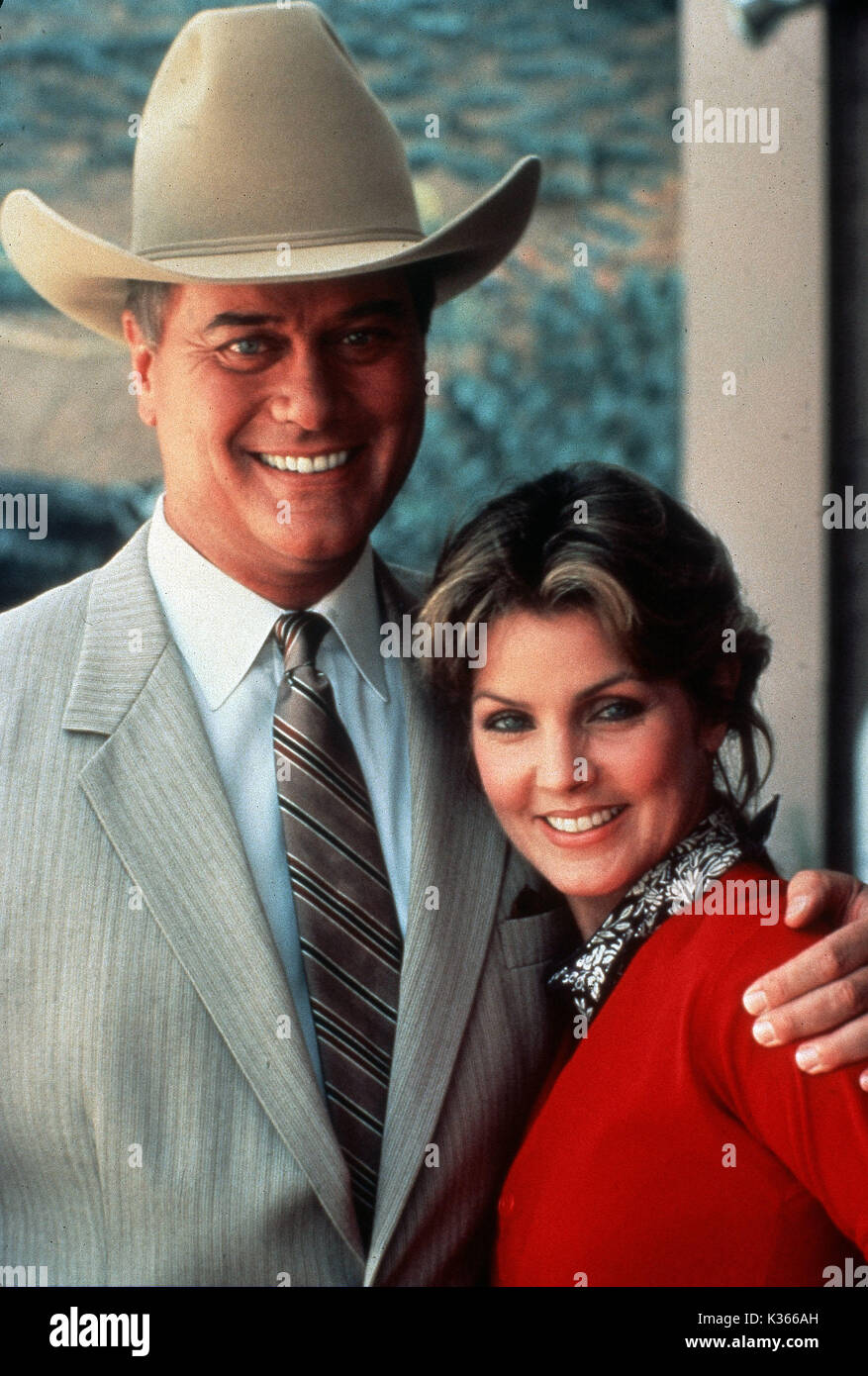 DALLAS [TV] LARRY HAGMAN as 'JR' EWING, PRISCILLA PRESLEY as Jenna Wade - Stock Image