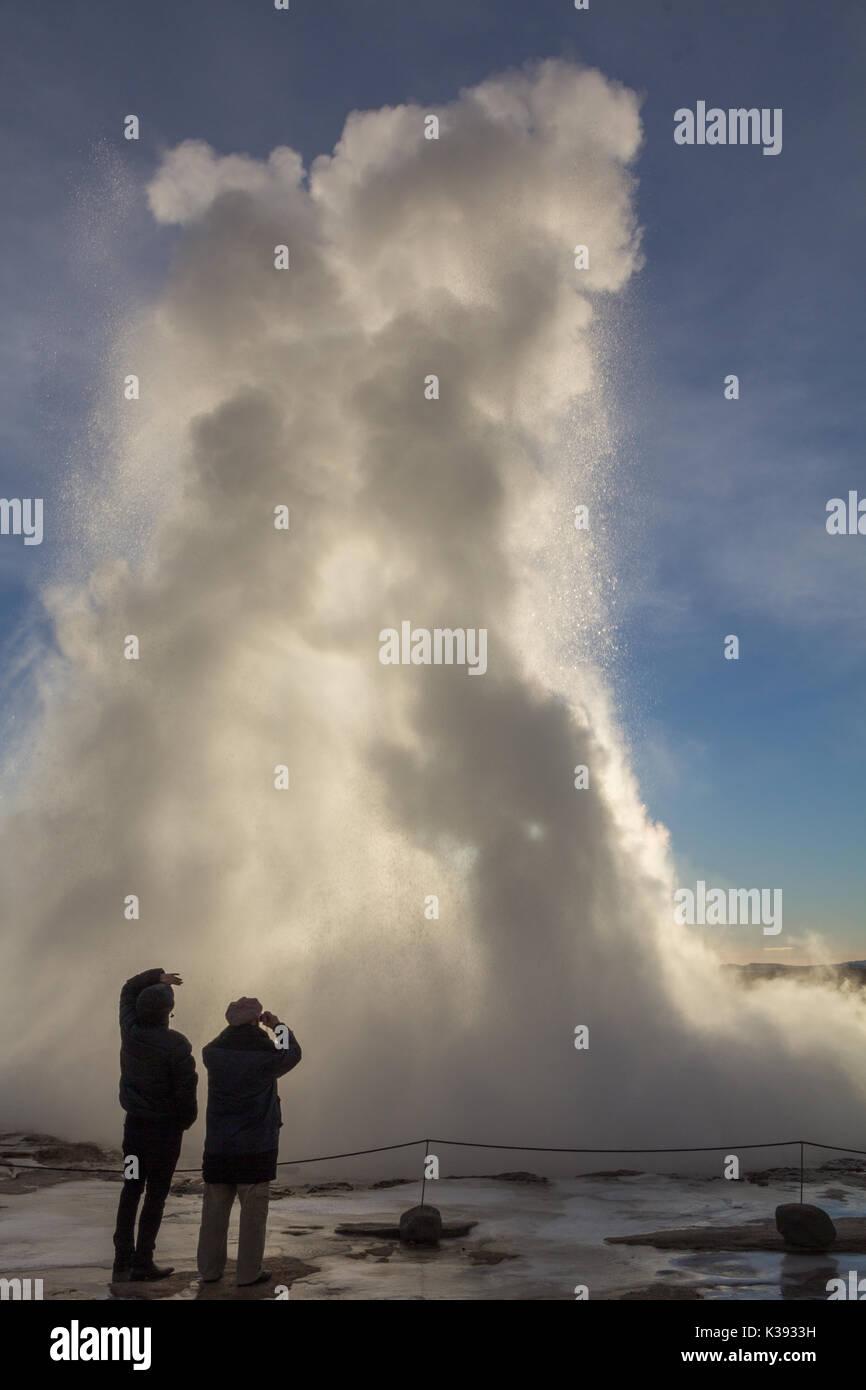 Strokkur Geyser erupts in Iceland Stock Photo