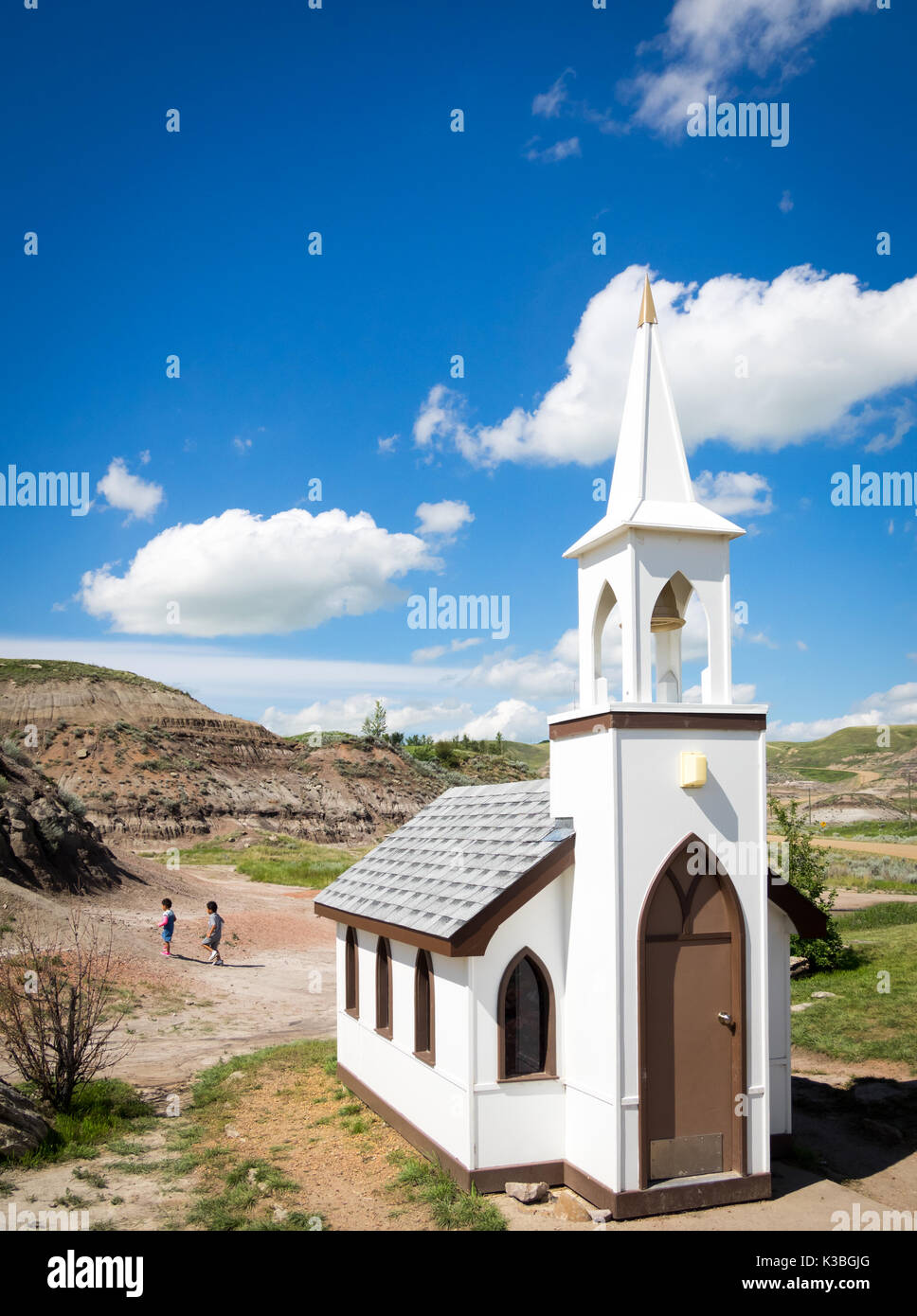 The famed Little Church in Drumheller, Alberta, Canada.  The capacity of the church is 6 people and is popular with - Stock Image