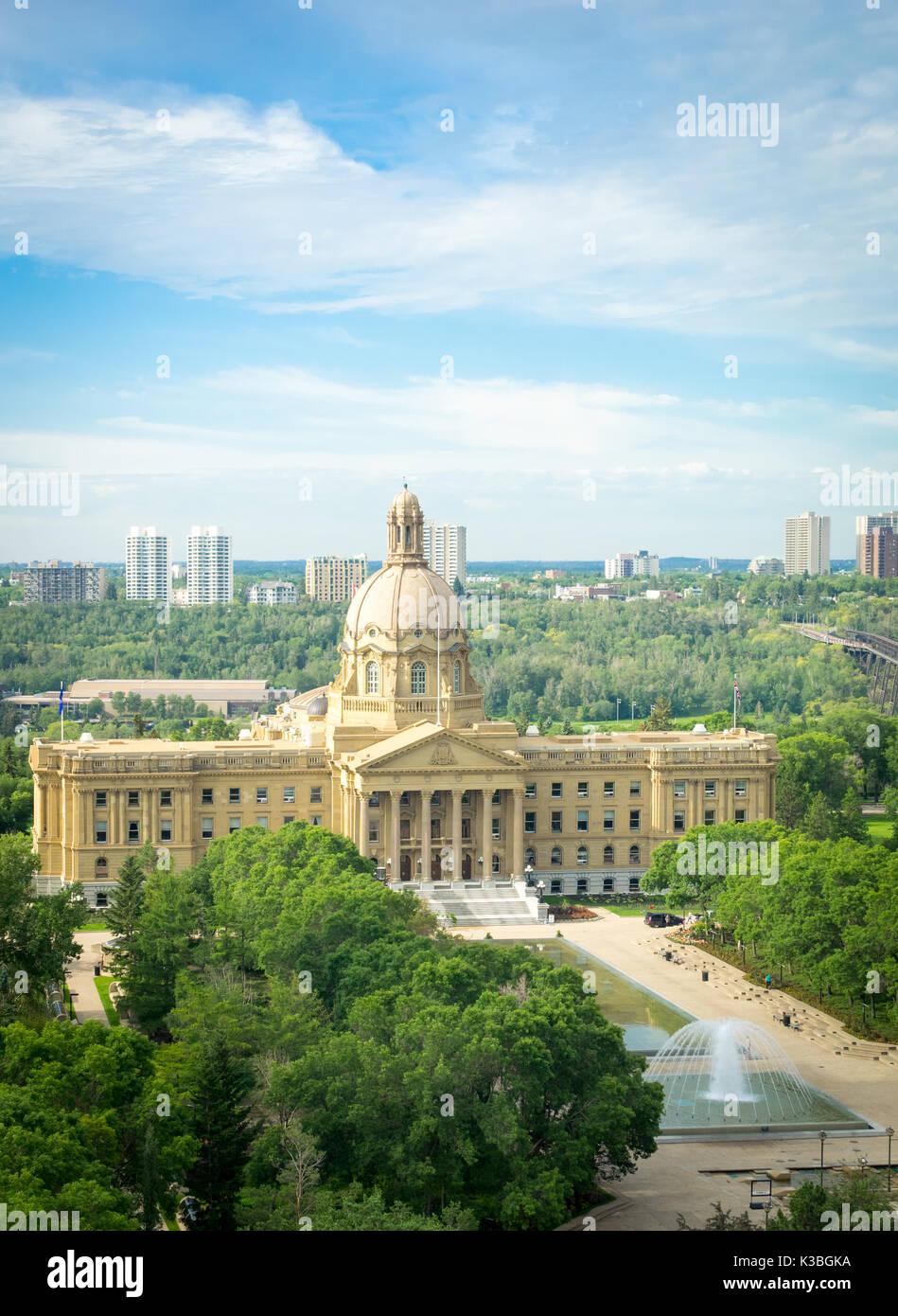 An aerial view of the Alberta Legislature Building, Alberta Legislature Grounds and High Level Bridge in Edmonton, - Stock Image