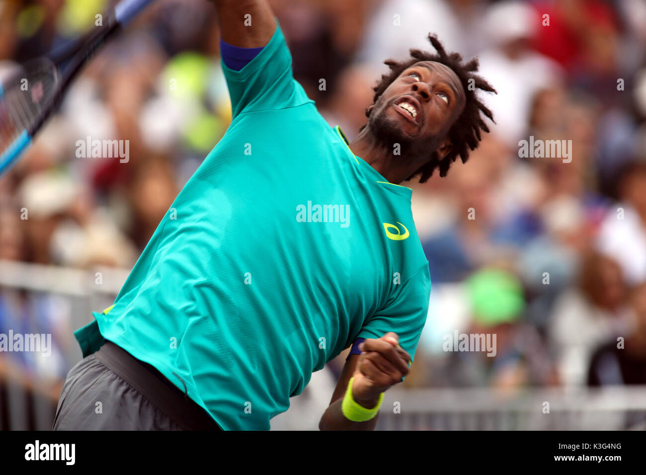 New York, USA. 2nd September, 2017. Gael Monfils of France serving during his third round match against David Goffin - Stock Image