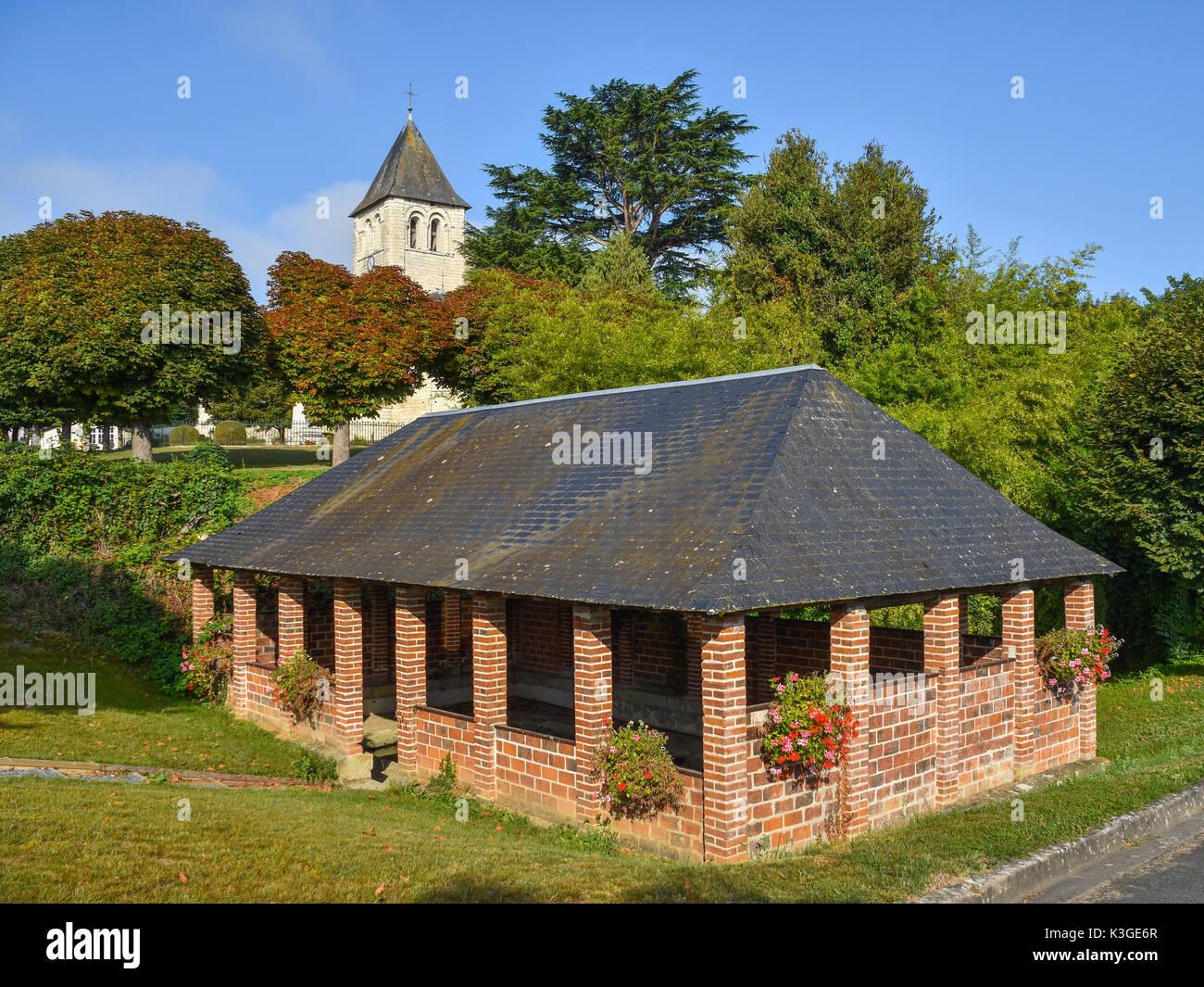 Lavoir (public wash-house), Bossay-sur-Claise, France. - Stock Image