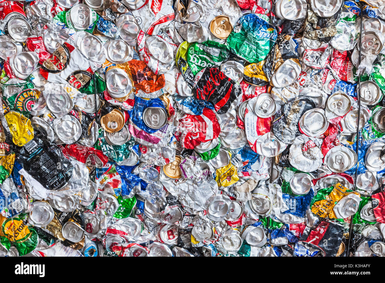 England, London, Southwark Intergrated Waste Management Facility, Waste Recycling, Detail of Compressed Metal Can - Stock Image