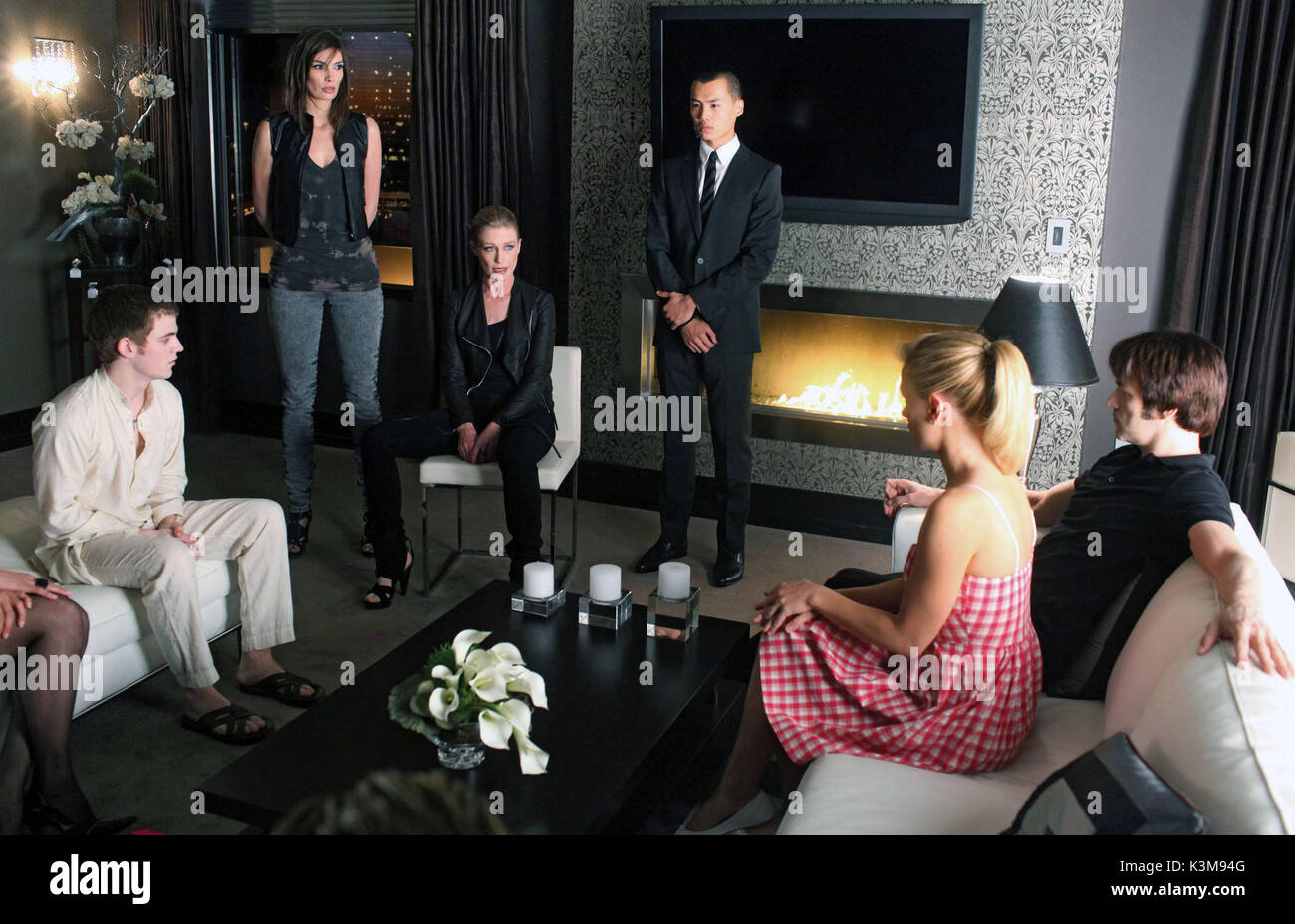 TRUE BLOOD Series,2 / Episode,8 / Timebomb ALLAN HYDE as Godric [seated], [?], JESSICA TUCK as Nana Flanagan, [?], - Stock Image