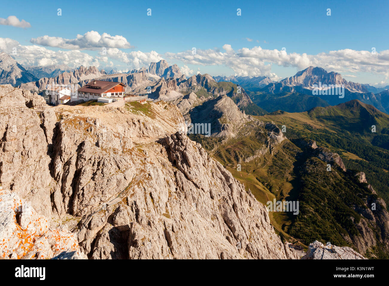 Rifugio Lagazuoi is one of the most elevated mountain inns in the Dolomites. Its spacious deck is so famous for - Stock Image