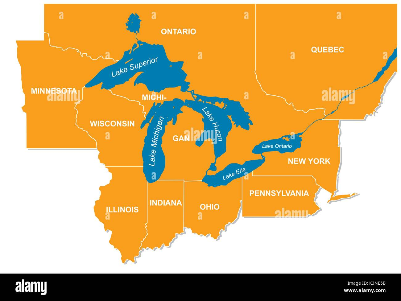 Great Lakes Map Stock Photos Great
