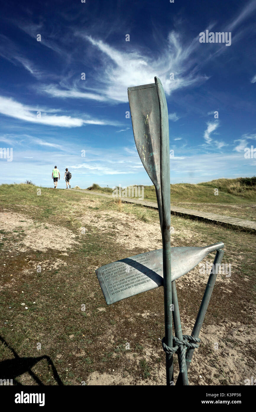 memorial to young dutchman who kayaked across north sea to escape during world war ll - Stock Image