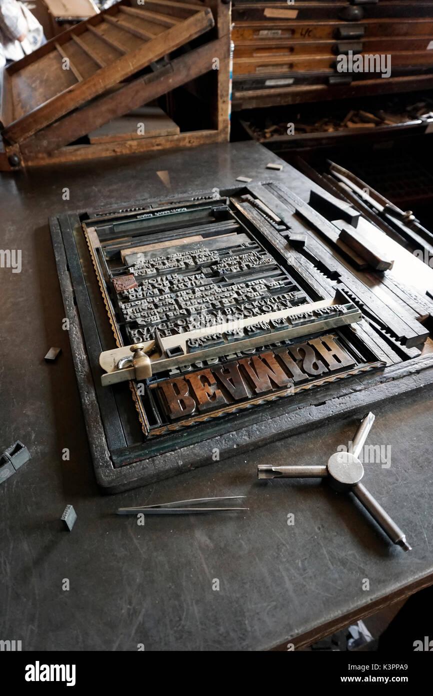 locked up letterpress forme  on stone - Stock Image