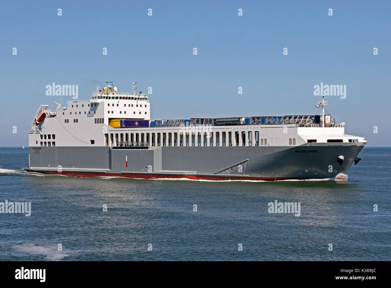 The Ro-Ro ship Wilhelmine enters the port of Rotterdam. - Stock Image