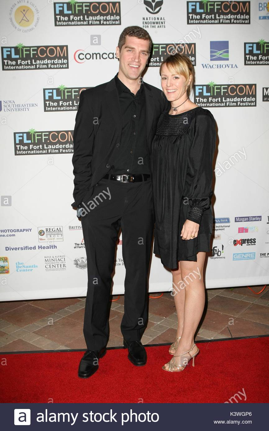 Mary Stuart Masterson attends the Fort Lauderdale International Film Festival with her husband Jeremy Davidson to - Stock Image