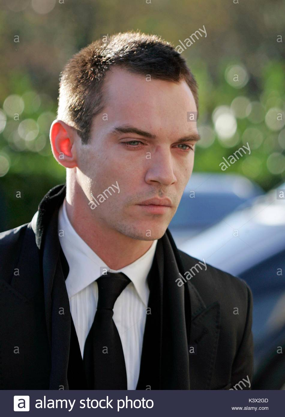 Jonathon Rhys Meyers at the funeral of Geraldine O'Keefe, mother of actor Jonathon Rhys Myers of 'The Tudors' - Stock Image