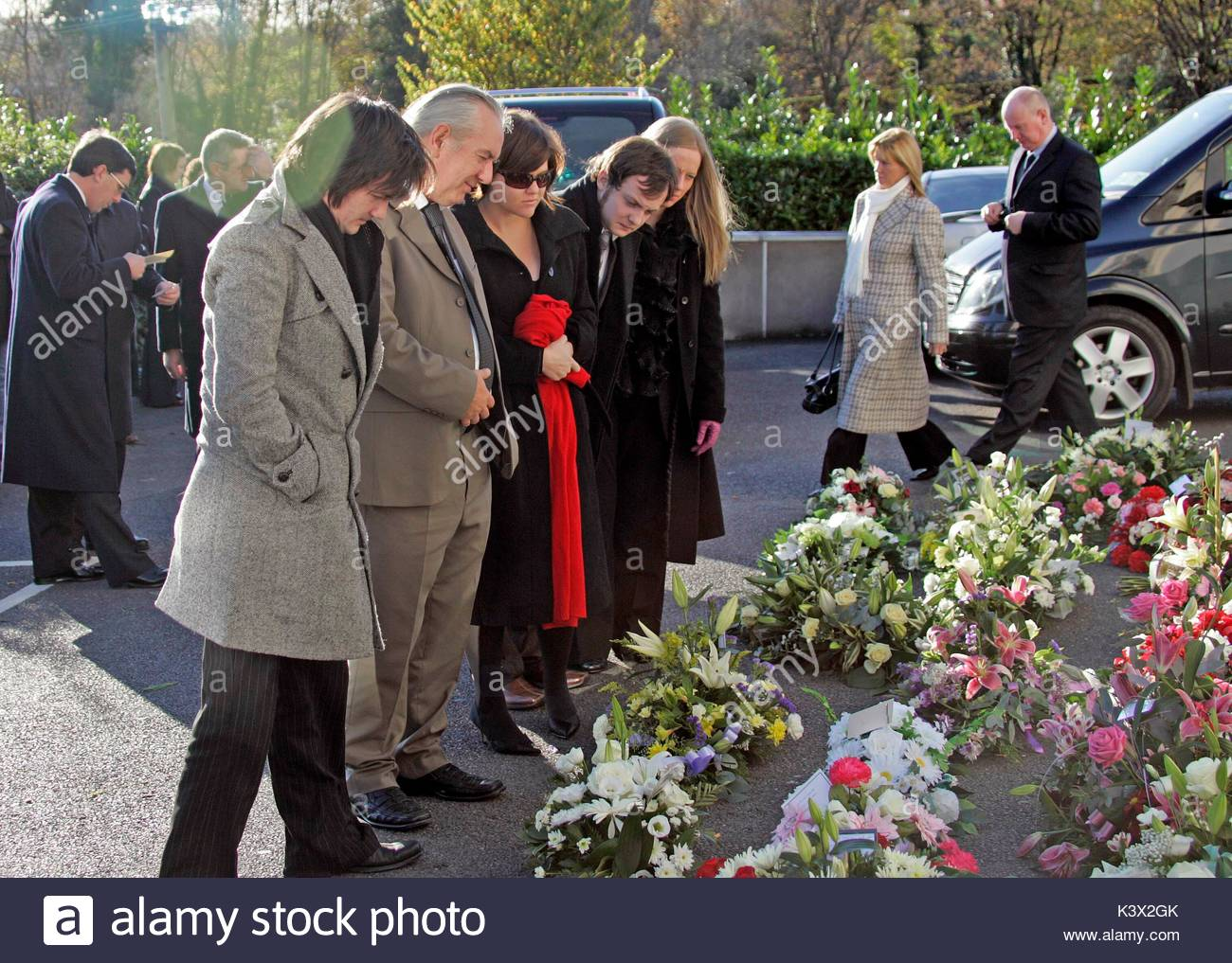 Jamie Myers at the funeral of Geraldine O'Keefe, mother of actor Jonathon Rhys Myers of 'The Tudors' - Stock Image