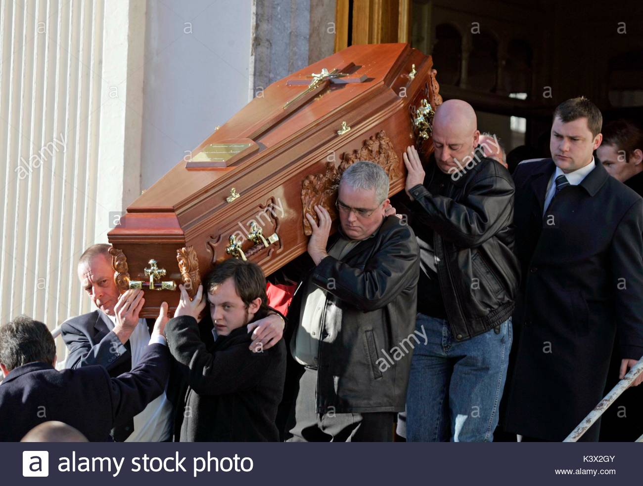 Geraldine O'Keefe's Coffin at the funeral of Geraldine O'Keefe, mother of actor Jonathon Rhys Myers - Stock Image