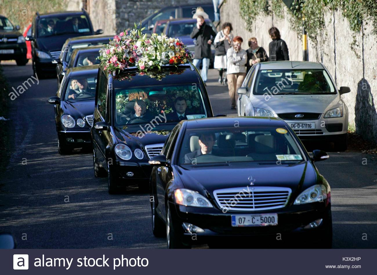 St. Joseph's Church at the funeral of Geraldine O'Keefe, mother of actor Jonathon Rhys Myers of 'The - Stock Image
