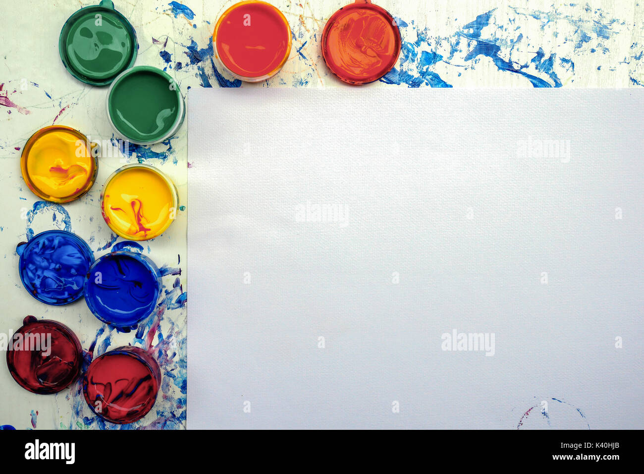 Painting equipment with copy space on white paper texture for Presentations with paint pallete bright color Stock Photo