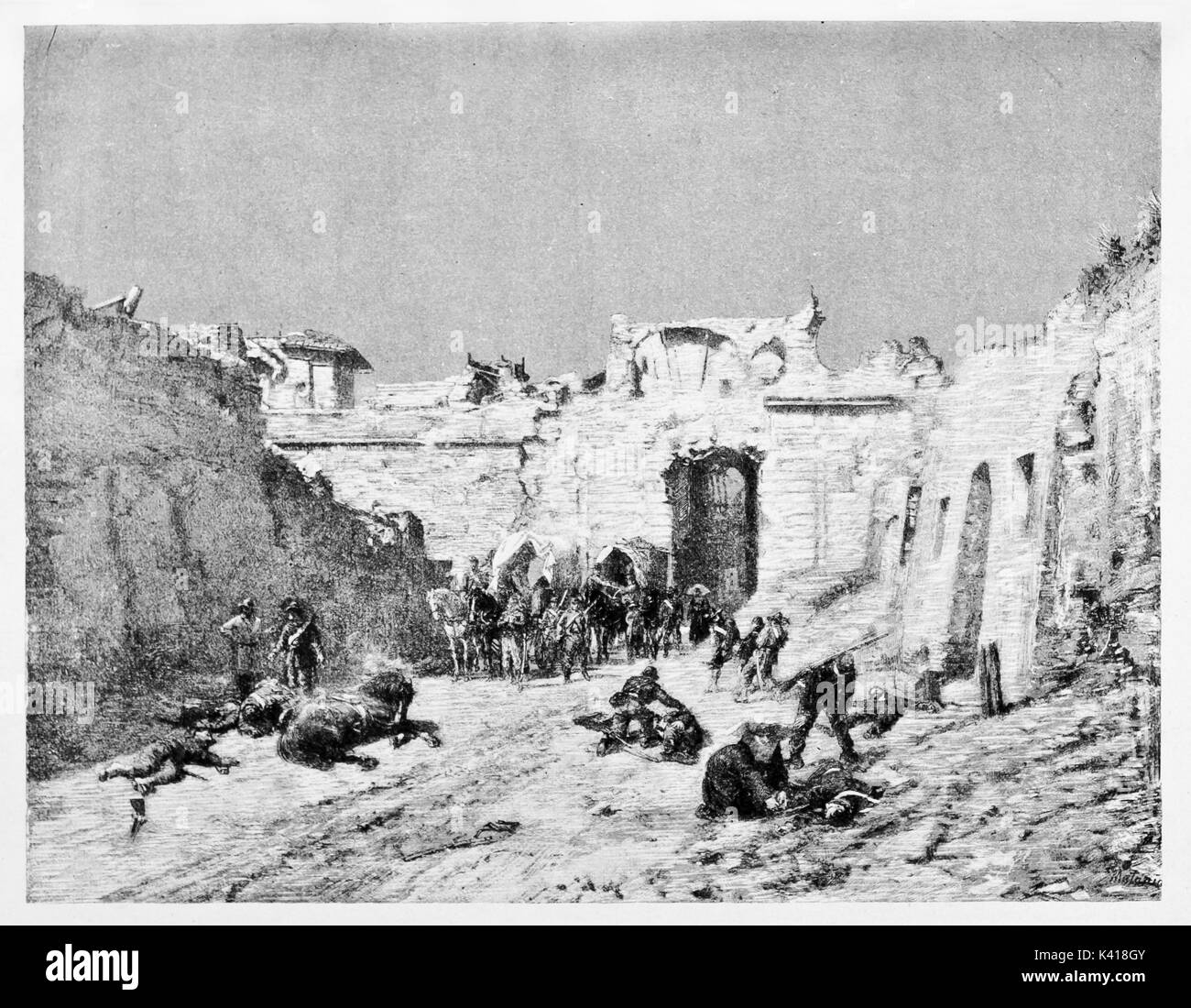 Porta San Pancrazio, Rome, in 1849, battleground bettween French army protecting the Pope and Roman Republic troops, - Stock Image