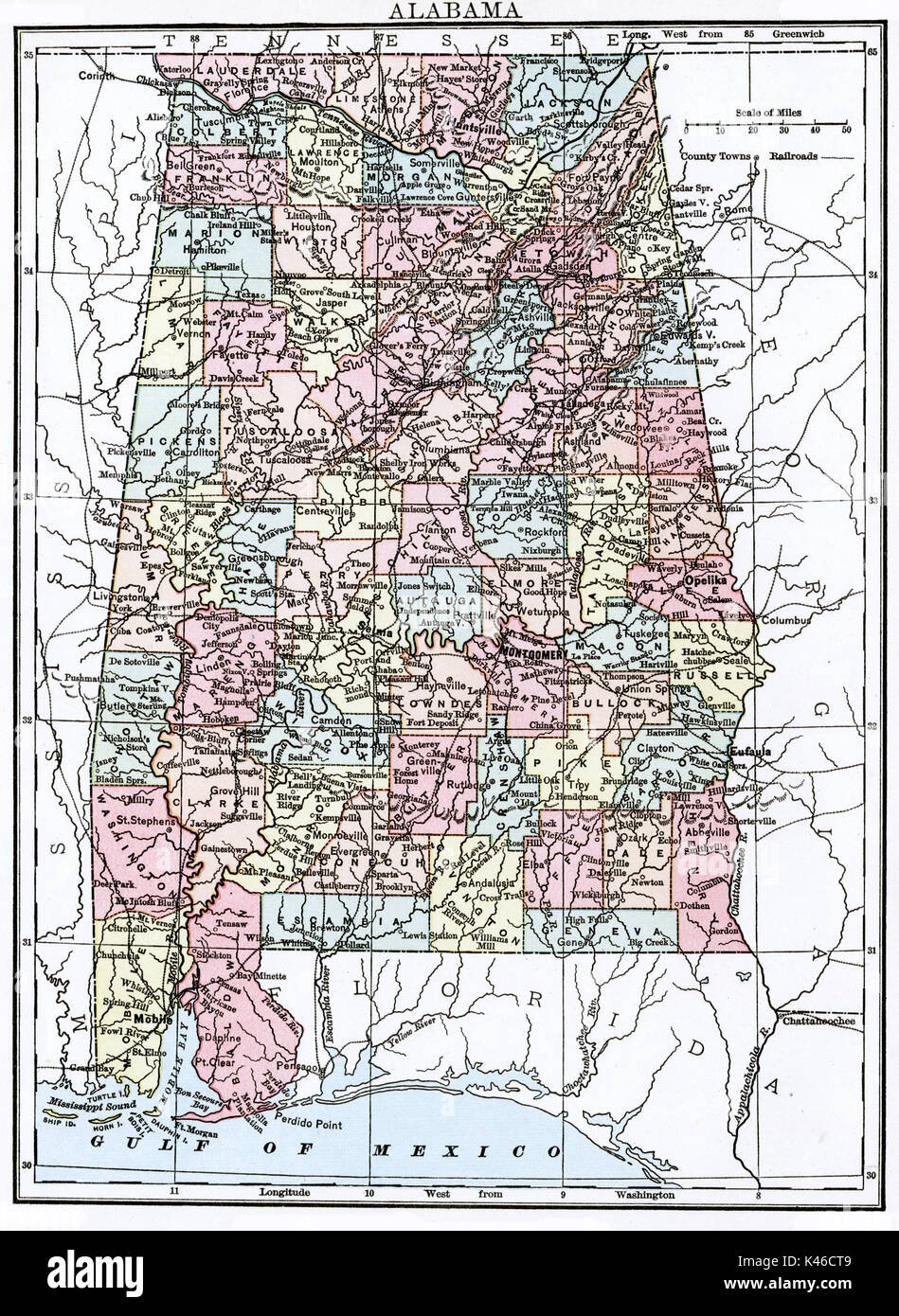 Antique map, circa 1875, of Alabama - Stock Image