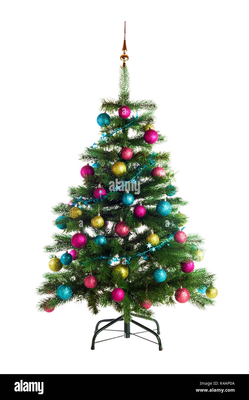Christmas garland fir stock photos christmas garland fir for Red and yellow christmas tree