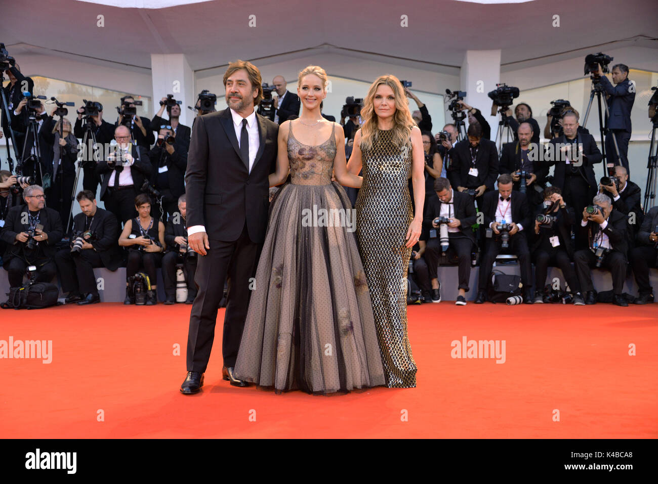 Venice, Italy. 5th September, 2017. L-R: Spanish actor Javier Bardem, Usa actress Jennifer Lawrence and Usa actress Stock Photo