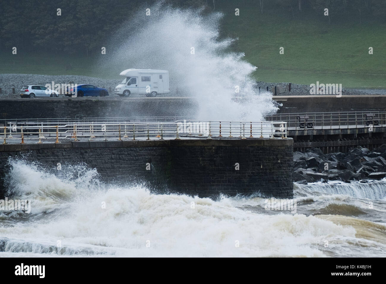 Aberystwyth Wales UK, Wednesday 06 September 2017 UK Weather: As the weather again turns unsettled and breezy, strong - Stock Image