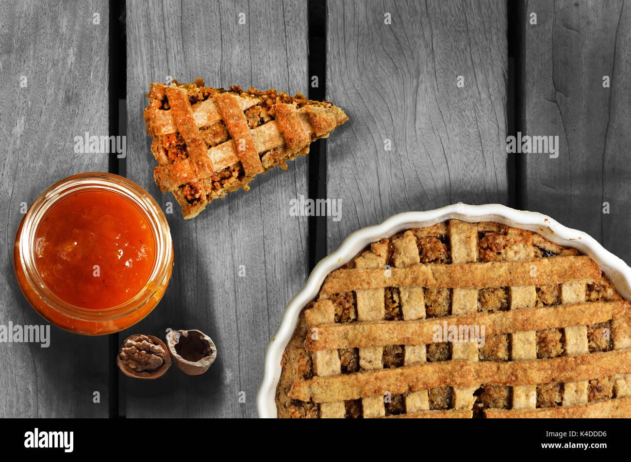 Walnut Pie and Homemade jam - Stock Image