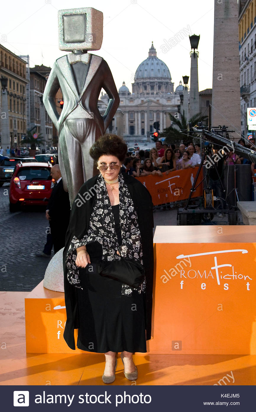 Claudia Mori. Orange carpet for the closing ceremony of the 4th 'Roma Fiction Fest'. - Stock Image
