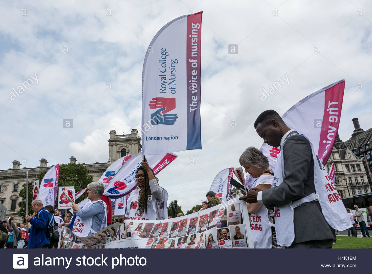 London, UK. , . Royal College of Nursing Smash the Cap demonstration in Parliament Square, London, England, UK. - Stock Image