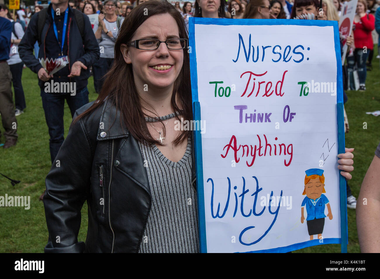 London, UK. 6th Sep, 2017. In a protest organised by the Royal College of Nursing, nurses rallied in central London - Stock Image