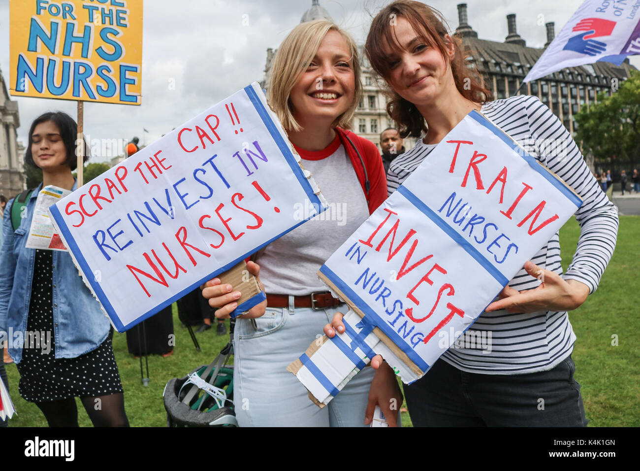 London, UK. 6th Sep, 2017. Hundreds of Members from  the (RCN) Royal College of Nursing staged a rally in Parliament - Stock Image