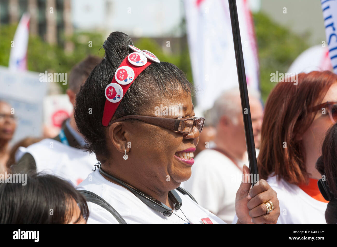 RCN Scrap the Cap Rally: Parliament Square, London UK. 6th September, 2017.  RCN (Royal Collage of Nursing) members - Stock Image