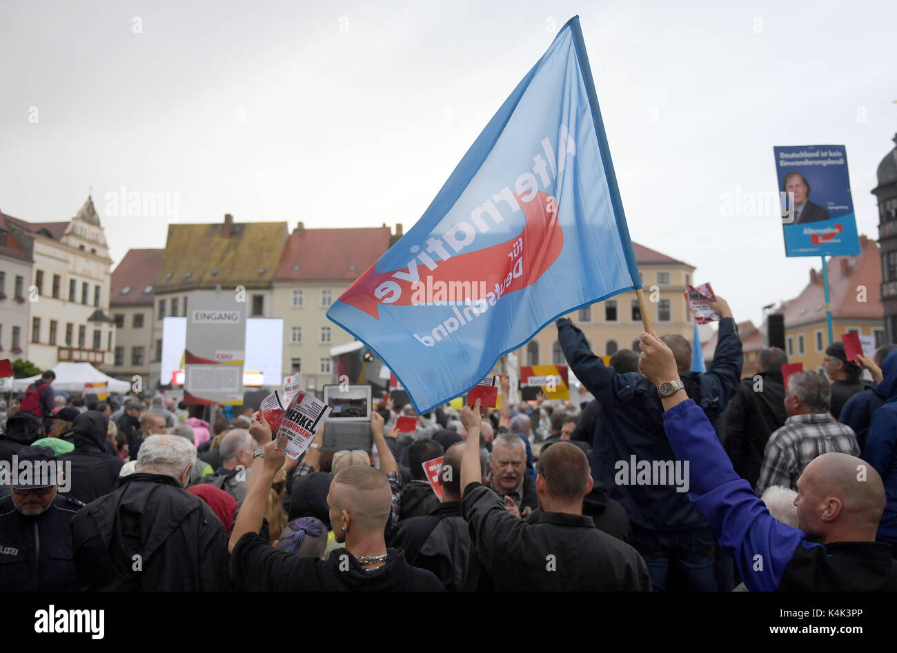 AfD (Alternative for Germany) supoorters protest at an CDU election campaign in Torgau, Germany, - Stock Image
