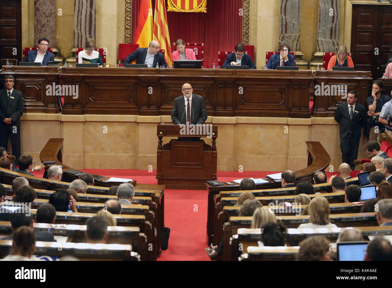 President of the parliamentary group 'Junts pel Si' Lluis Corominas defends the position of his group regarding - Stock Image